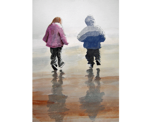 A Stroll On The Beach - watercolour by Jon Asher