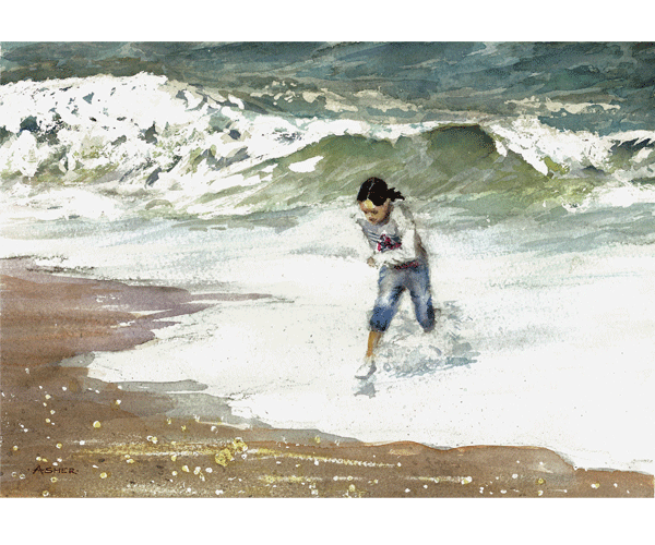 The Big Wave - watercolour by Jon Asher