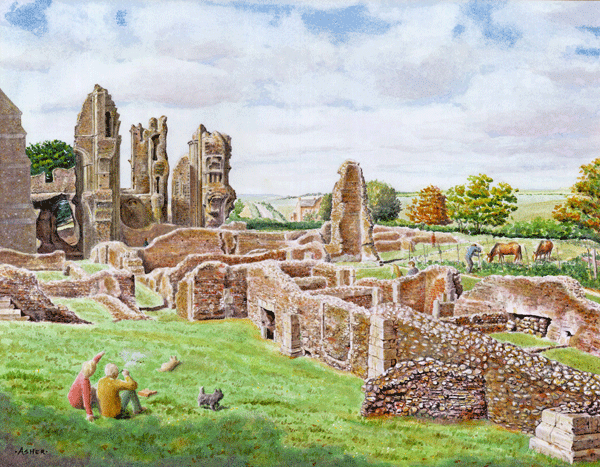 The Ruins at Binham Priory - watercolour by Jon Asher