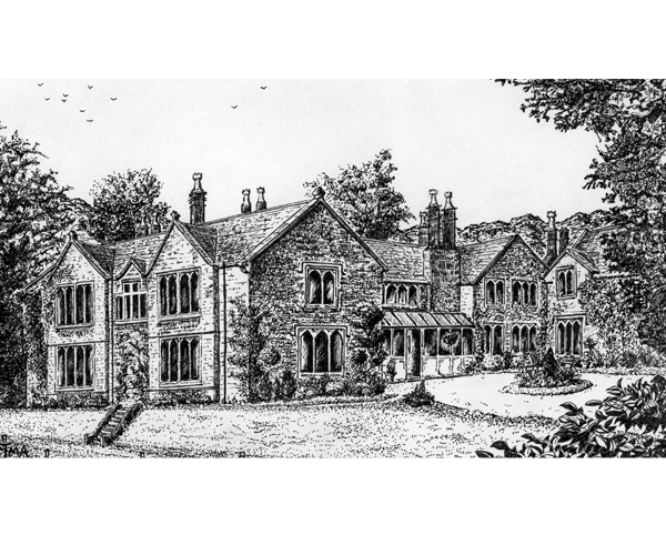 East Lodge, near Matlock - pen and ink by Jon Asher