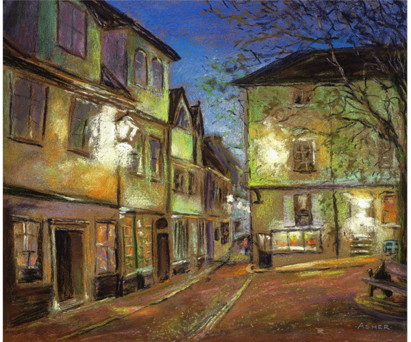 Elm Hill at dusk - pastel by Jon Asher
