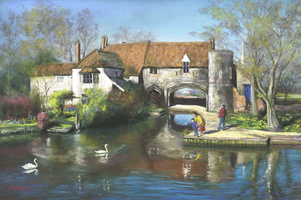 Pulls Ferry in Spring, Norwich - pastel by Jon Asher