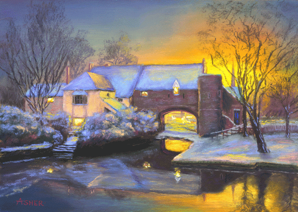Winter Sunset at Pulls Ferry, Norwich - pastel by Jon Asher