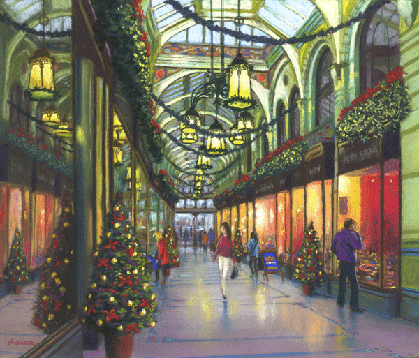 December at The Royal Arcade, Norwich - pastel by Jon Asher