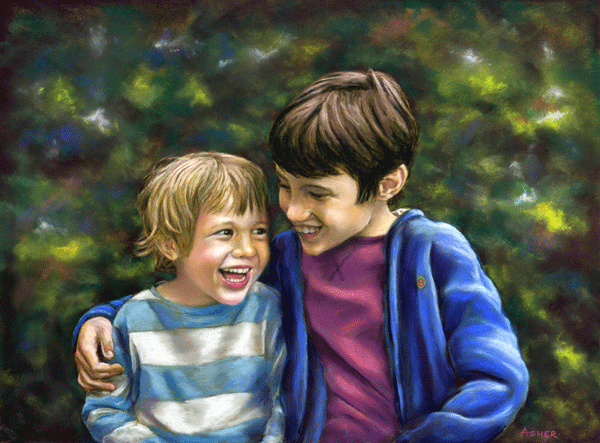 Lenny and Sammy - pastel by Jon Asher