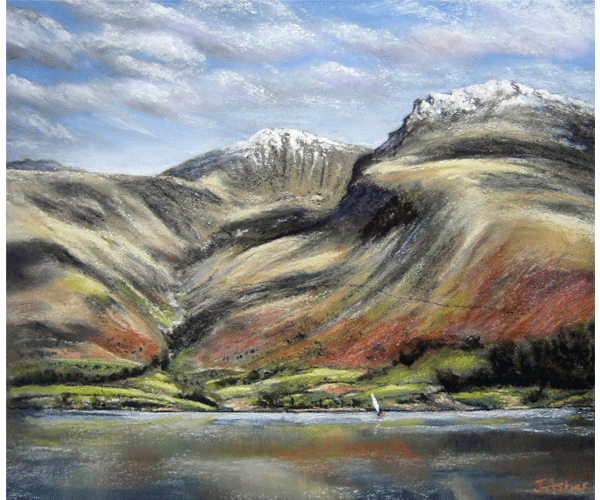Wastwater and the Scafells - pastel by Jon Asher