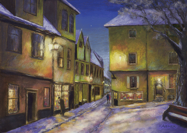 Winter Evening at Elm Hill, Norwich - pastel by Jon Asher